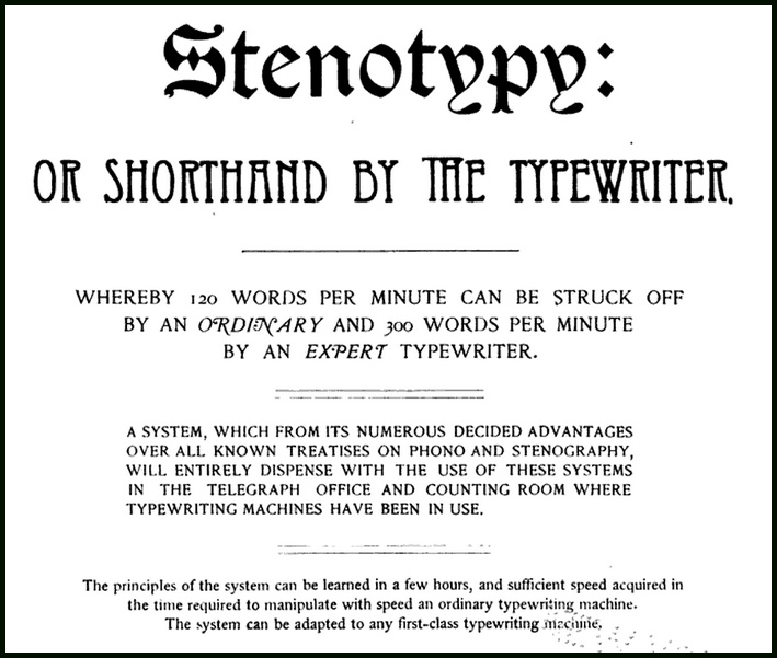 Shorthand on the QWERTY Keyboard, 1875-1917 | Griffonage-Dot-Com
